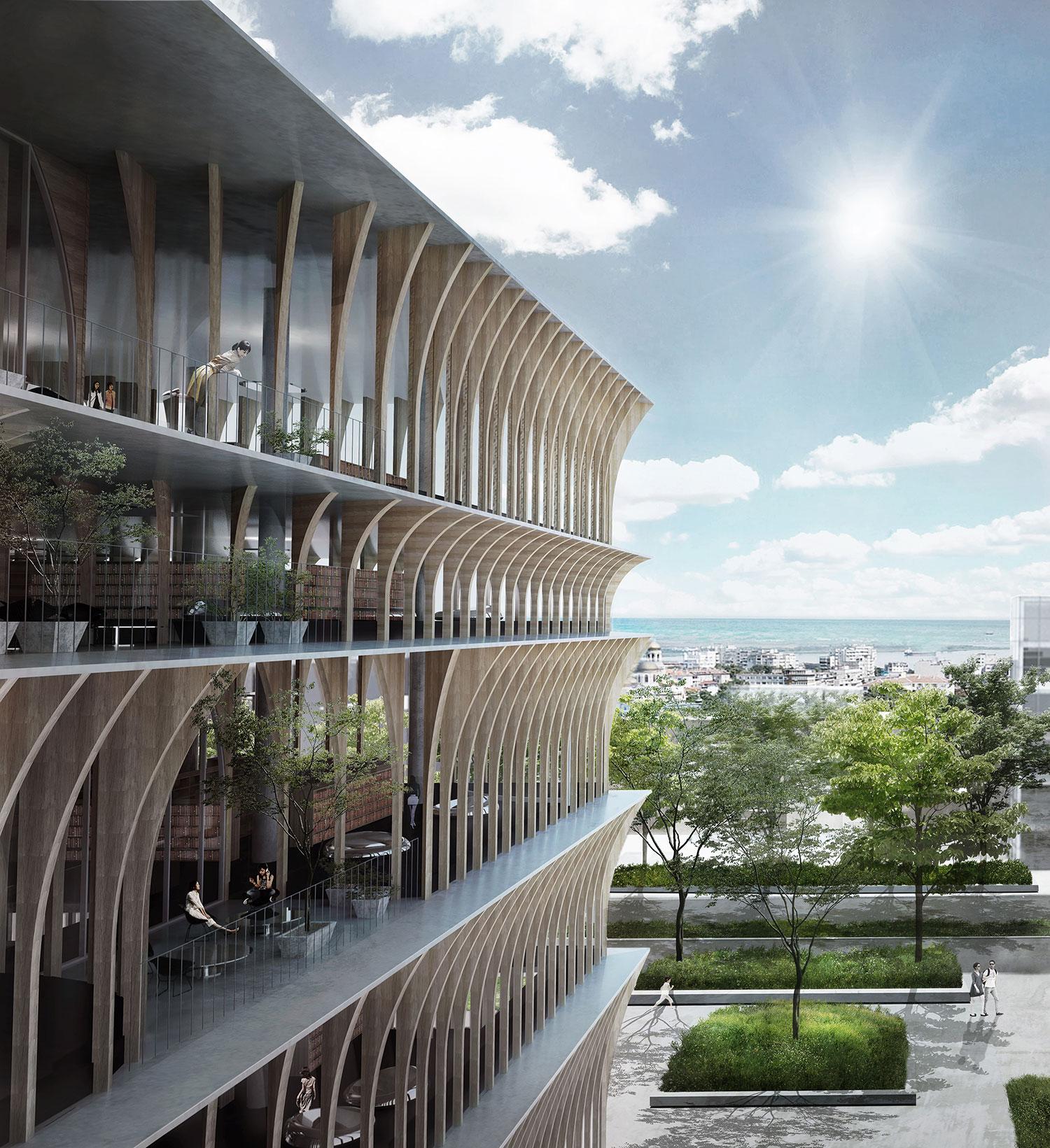 スペイシャルプラクティスによる、ブルガリアのヴァルナ公立図書館国際設計競技の3等案