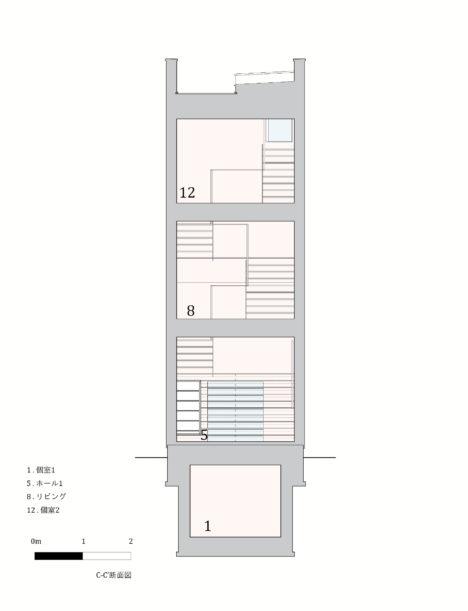 Minami-tanabe-18-20170301_House_in_minamitanabe_section03_C-C'_JPN
